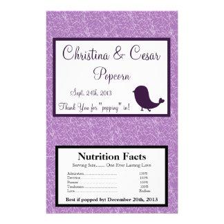 Microwave Popcorn Wrapper Bird Swing Purple BG 14 Cm X 21.5 Cm Flyer