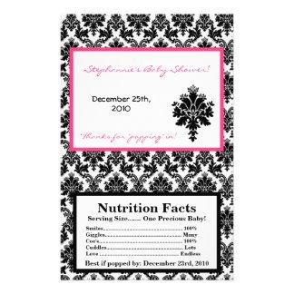 Microwave Popcorn Wrapper Hot Pink Black Damask 14 Cm X 21.5 Cm Flyer