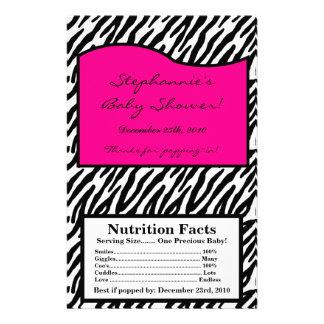 Microwave Popcorn Wrapper Hot Pink Zebra Print Full Color Flyer