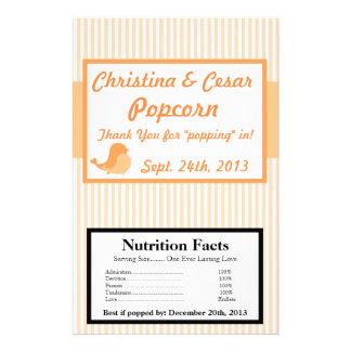 Microwave Popcorn Wrapper Love Birds Peach Stripes 14 Cm X 21.5 Cm Flyer
