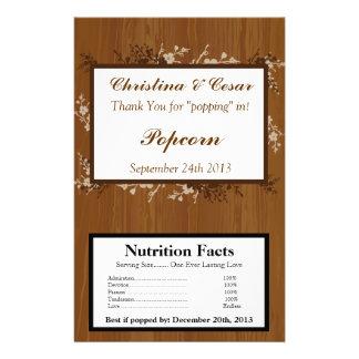 Microwave Popcorn Wrapper Wooden Plank Floral Wedd 14 Cm X 21.5 Cm Flyer
