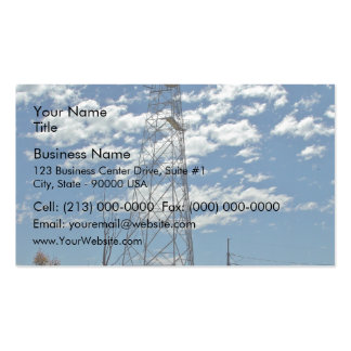 Microwave relay dishes on a communications tower business card template