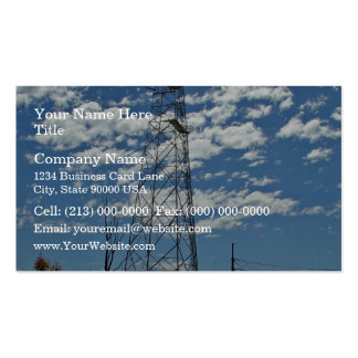 Microwave relay dishes on a communications tower business card