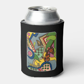 Mid-Century Abstract Butterfly Factory painting on Can Cooler