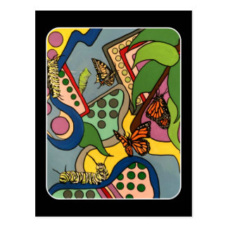 Mid-Century Abstract Butterfly Factory painting on Postcard