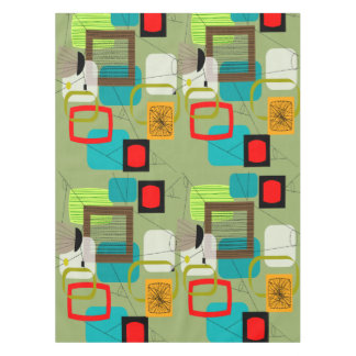 Mid-Century Abstract Green Tablecloth