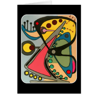 Mid-Century Abstract Talking Man painting on a Card