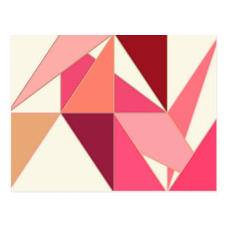 Mid Century Abstract, Triangles - Coral, Beige Postcard
