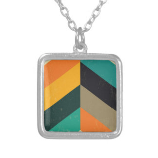 Mid Century Chevron Silver Plated Necklace