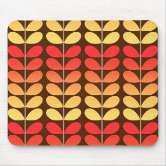 Mid Century Danish Leaves, Brown, Orange & Gold Mouse Pad