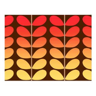 Mid Century Danish Leaves, Brown, Orange & Gold Postcard