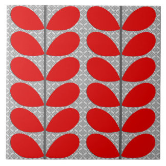 Mid Century Danish Leaves, Deep Red & Gray / Grey Ceramic Tile