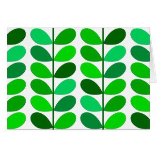Mid Century Danish Leaves, Emerald and Lime Green Card