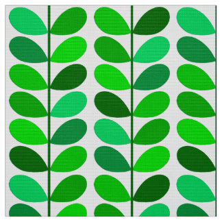 Mid Century Danish Leaves, Emerald and Lime Green Fabric