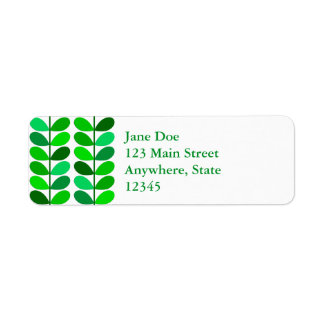 Mid Century Danish Leaves, Emerald and Lime Green Return Address Label