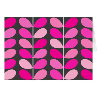 Mid Century Danish Leaves, Fuchsia Pink and Gray Card