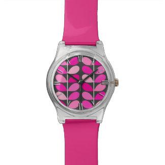Mid Century Danish Leaves, Fuchsia Pink and Gray Watch