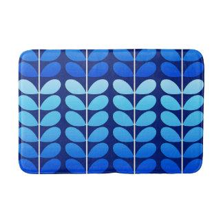 Mid Century Danish Leaves, Navy and Cobalt Blue Bath Mat