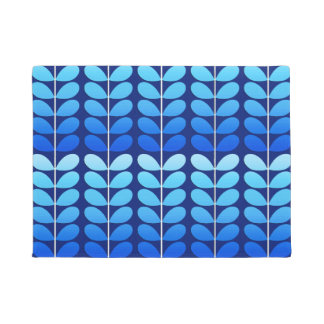 Mid Century Danish Leaves, Navy and Cobalt Blue Doormat