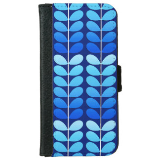 Mid Century Danish Leaves, Navy and Cobalt Blue iPhone 6 Wallet Case