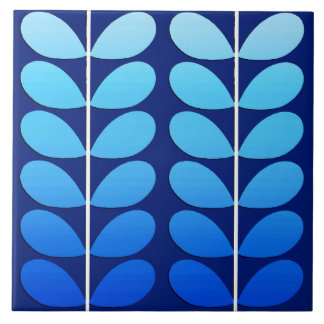 Mid Century Danish Leaves, Navy and Cobalt Blue Large Square Tile