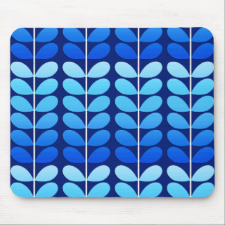 Mid Century Danish Leaves, Navy and Cobalt Blue Mouse Pad