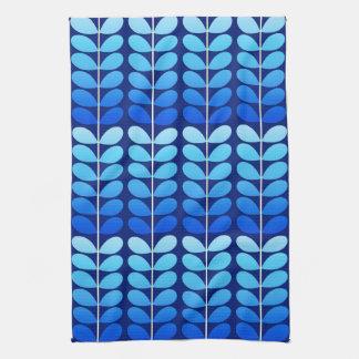 Mid Century Danish Leaves, Navy and Cobalt Blue Tea Towel