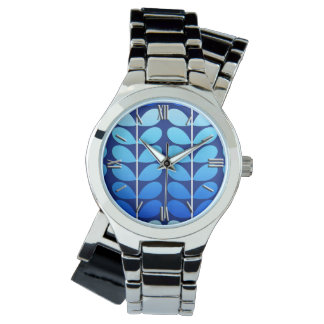 Mid Century Danish Leaves, Navy and Cobalt Blue Watch