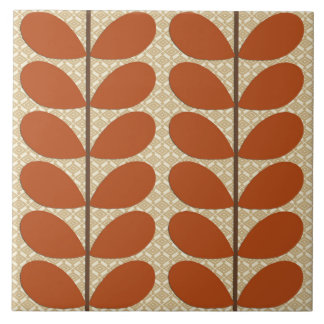 Mid Century Danish Leaves, Rust Brown and Beige Large Square Tile