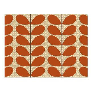 Mid Century Danish Leaves, Rust Brown and Beige Postcard