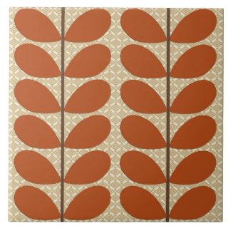 Mid Century Danish Leaves, Rust Brown and Beige Tile