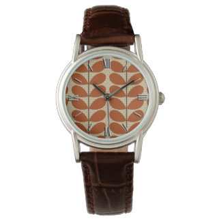 Mid Century Danish Leaves, Rust Brown and Beige Wristwatch