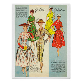 Mid century fashion summer dress 1950s France Poster