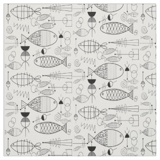 Mid-Century Fish Art Black and White Fabric