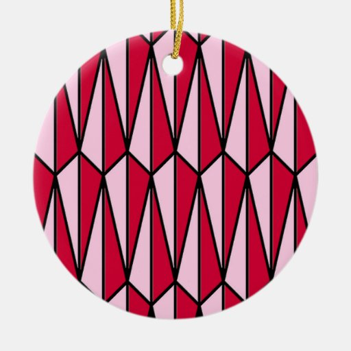 Mid-Century geometric, rose red and pink Christmas Ornament