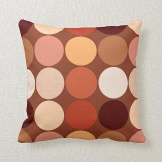 Mid-Century Giant Dots, Chocolate Brown & Tan Cushion