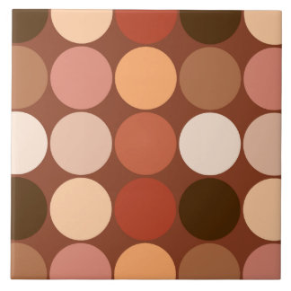 Mid-Century Giant Dots, Chocolate Brown & Tan Large Square Tile