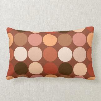 Mid-Century Giant Dots, Chocolate Brown & Tan Lumbar Cushion
