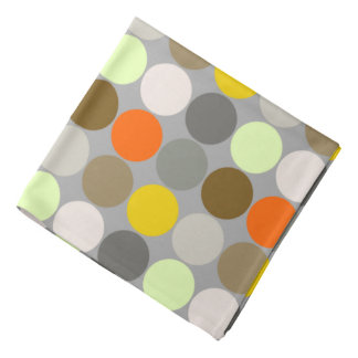 Mid-Century Giant Dots, Gray, Gold and Orange Bandana