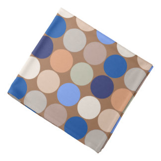 Mid-Century Giant Dots, Taupe, Beige and Blue Bandana