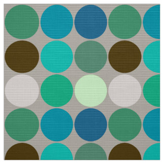 Mid-Century Giant Dots, Turquoise and Gray Fabric