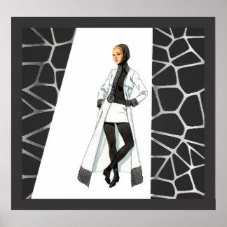Mid Century Mod Black and White Mini Shirt Poster
