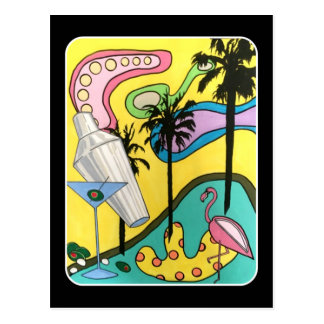Mid Century Mod Fun in the Sun painting on a Postcard