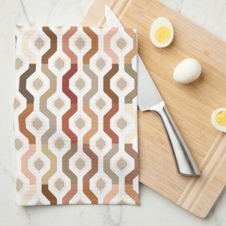 Mid Century Mod Geometric Link Pattern Tea Towel