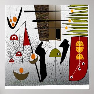 Mid-Century Modern Abstract Art Poster