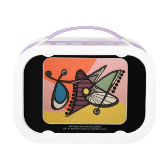 'Mid-Century Modern Abstract, Butterfly' painting Lunch Boxes