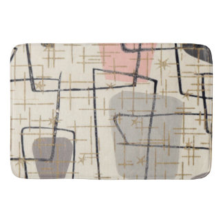 Mid Century Modern Abstract Fabric Bath Mat Bath Mats