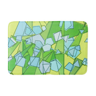 Mid-Century Modern Abstract, Lime Green and Yellow Bath Mat