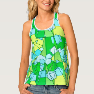Mid-Century Modern Abstract, Lime Green and Yellow Singlet