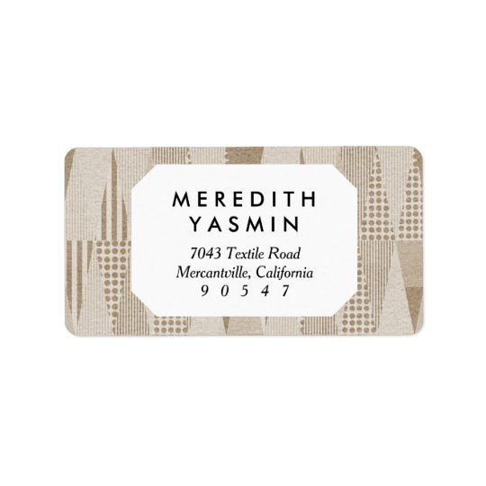 Mid Century Modern Abstract Neutral Print Address Label